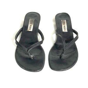 Steve madden faux leather kitten block heel thong